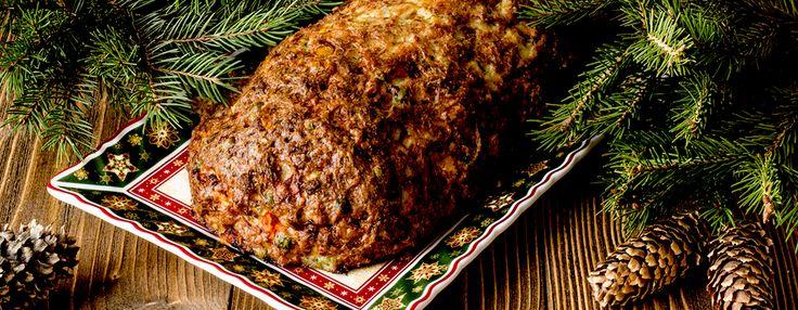 Мясной рулет с замороженными овощами