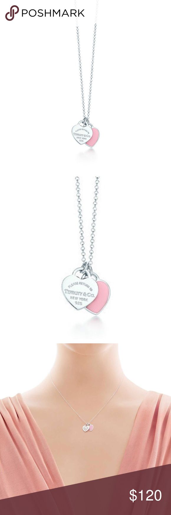 Tiffany Double Heart Necklace Tiffany necklace with a silver and a pink heart. Clasp closure. Will polish with silver cleaner before sending Tiffany & Co. Jewelry Necklaces