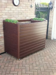 WHEELIE-BIN-COVER-DOUBLE-ALL-PLASTIC-ROSEWOOD-or-LIGHTOAK