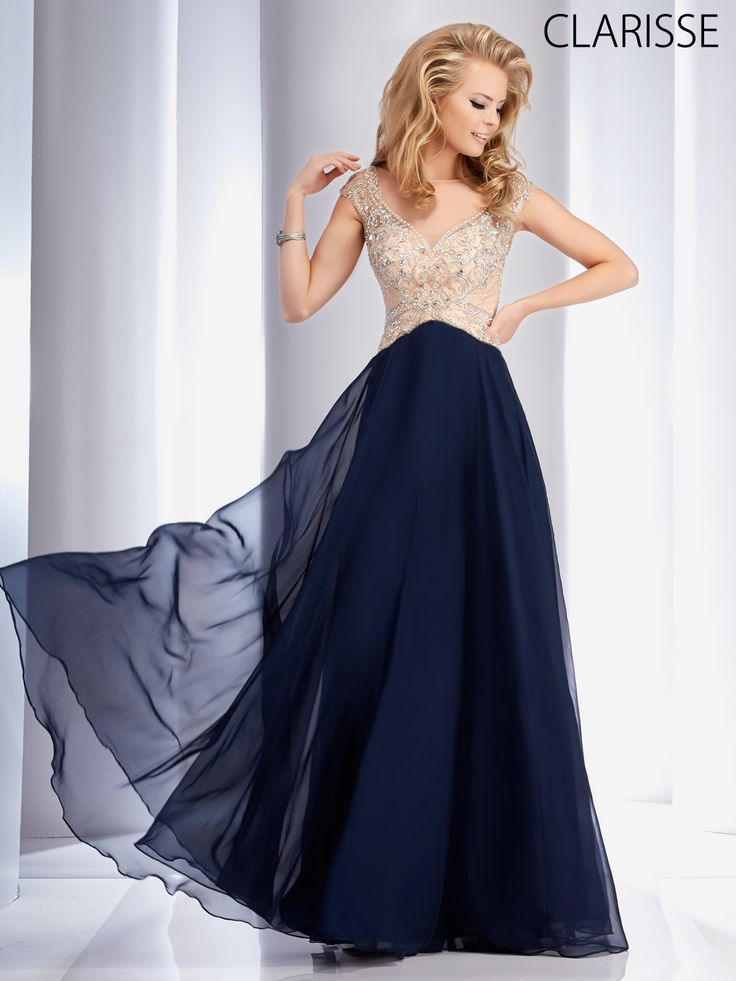 Clarisse 2016 couture prom dress style 4715 in Navy blue or red. Pretty, elegant and simple long flowy A-line Chiffon prom dress with sparkly silver details. http://clarisse.us/locator/index.php