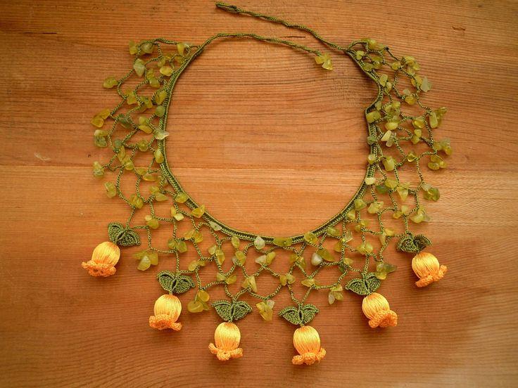 crochet bib necklace yellow flower green by PashaBodrum on Etsy