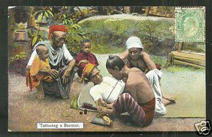Burma-Man-being-Tattooed-Myanmar-Tattoo-stamp-ca-1906