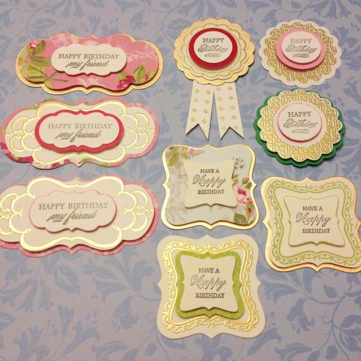 Handmade sentiments by Eve Yeung, posted on Anna Griffin's Facebook page 5/21/17. Made with AG Die and Stamp set and heat embossing.