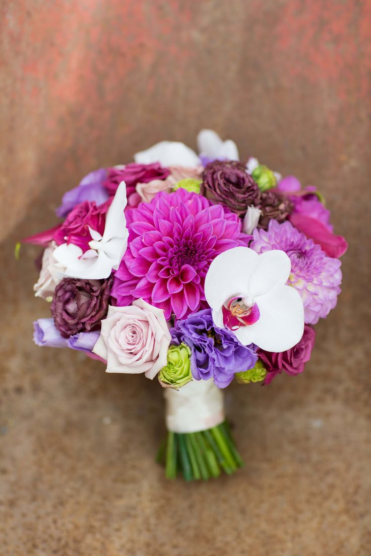 Magenta and purple brides bouquet - Romantic wedding flowers made by Amy's Flowers