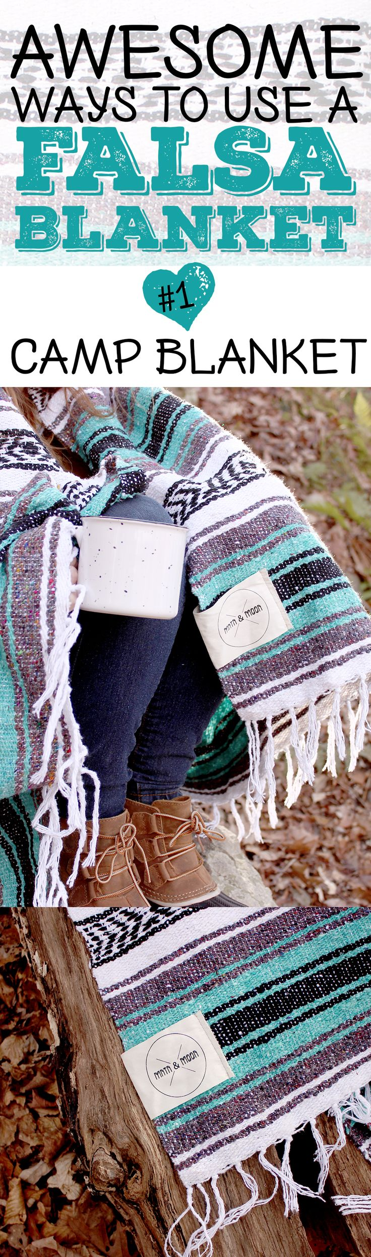 Awesome ways to use your falsa blanket: #1 Camp Blanket // These Mexican blankets can also be your favorite blanket for camping. Stay warm by the campfire during chilly nights!