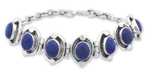 Lapis lazuli link bracelet, 'Majestic Blue' NOVICA. $127.95. Handmade by Neeru Goel.. A fair trade product. Normally ships directly from India within 10 days.. Save 46%!