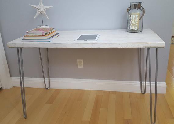 Sale Weathered White Desk Modern Rustic Desk Hairpin Legs