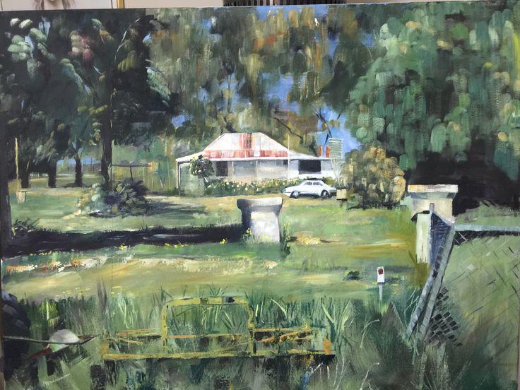 australian home on the farm - oil on canvas