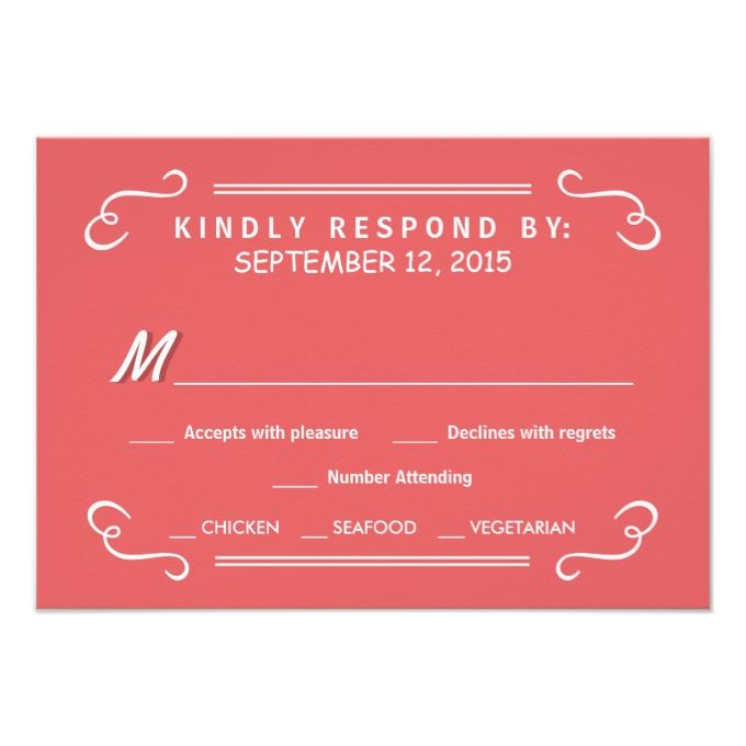 Coral Pink Eat Drink and RSVP Rustic Wedding Reply 3.5x5 Paper Invitation Card