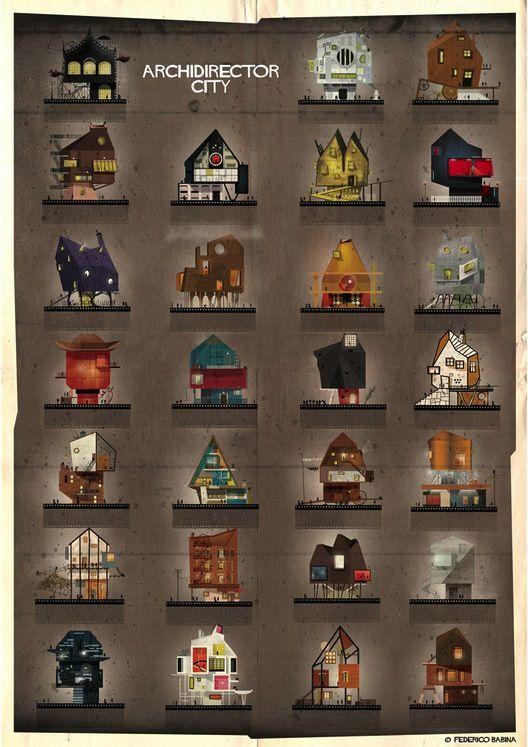 Archidirector: 27 villas de réalisateurs célèbres imaginées par Federico Babina