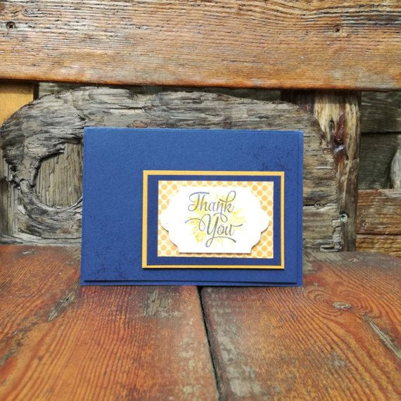 Thank You Card in Navy Blue and Gold Yellow Pearl