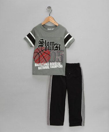 Take a look at this Gray 'Slam Dunk' Tee & Track Pants - Toddler by Little Rebels on #zulily today!