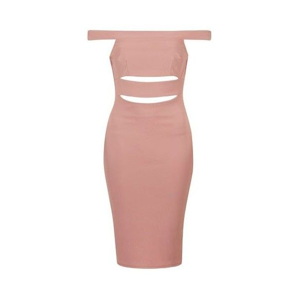 TopShop Petite Slashed Bardot Dress ($59) ❤ liked on Polyvore featuring dresses, pink, petite party dresses, red bodycon dress, pink cocktail dress, petite cocktail dress and red party dresses