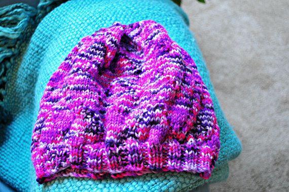 Hand-Knit Merino Wool Women's Slouchy Hat