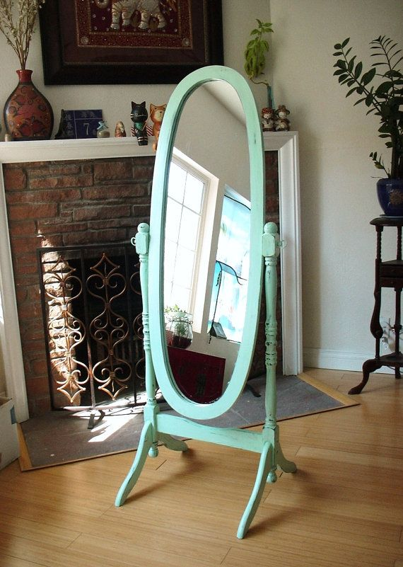 Hand Painted Mint Green Cheval Oval Mirror Full by NJsDreamBoxes