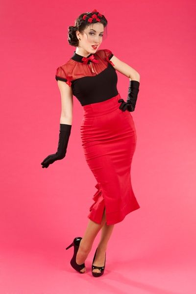 Fallon kokerrok rood | New arrivals | Misspoppywear, retro boetiek