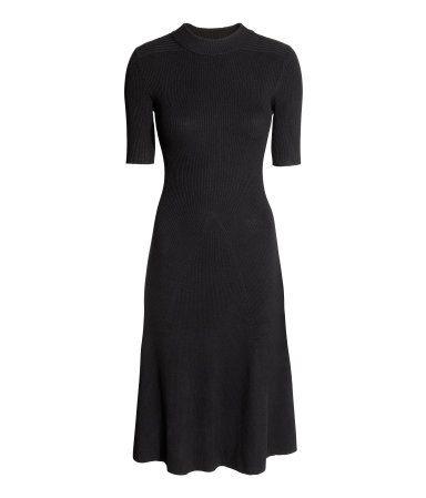 Geripptes Kleid | Schwarz | Damen | H&M DE