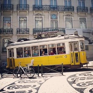 Finding the hidden playgrounds in Lisbon's most beautiful spots - via One Tiny Leap 16.05.2014   (Lisbon)... has in fact dozens of playgrounds, hiding in quiet corners or squares and just waiting to be explored by budding young travelers.   Photo: Yellow #tram in # chiado #lisboa #portugal