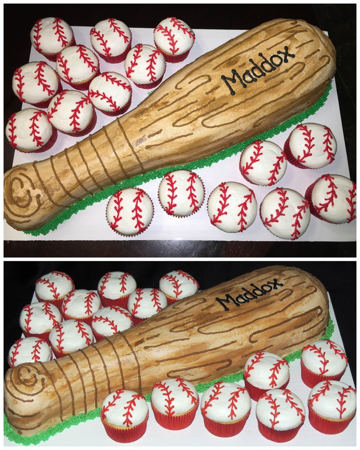 Baseball bat cake with baseball cupcakes