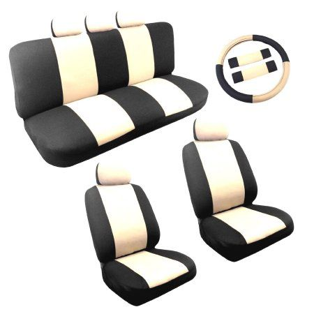 Dual Color Two Tone Car Seat Cover Set 1eering Wheel Cover Set (Black and White)