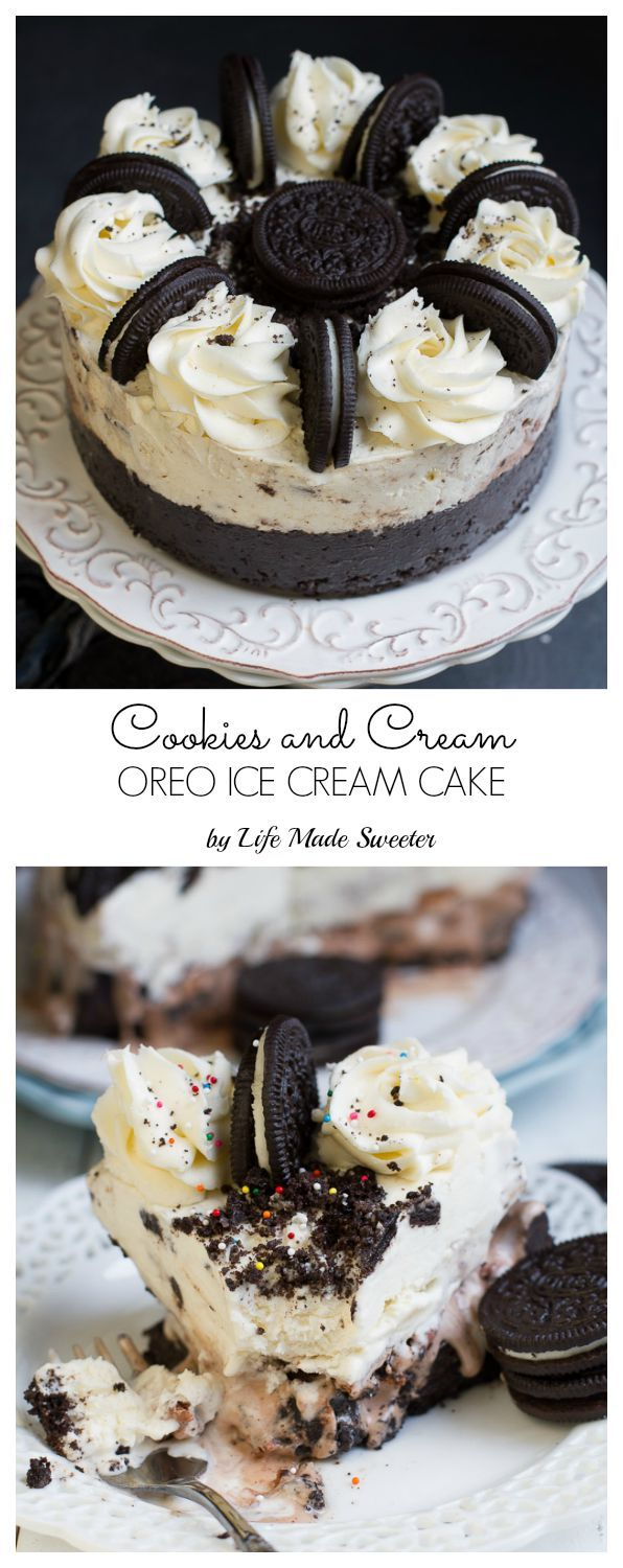 Cookies and Cream Oreo Ice Cream Cake - super easy to make & loaded with chopped Oreos & Tim Tams on an Oreo cookie crust. Perfect for birthdays!