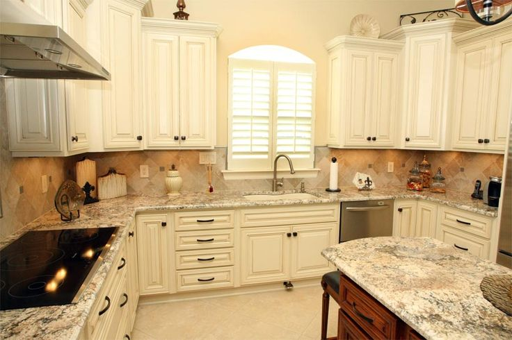 Best Cream Cabinets With Bronze Hardware Granite Stone 400 x 300