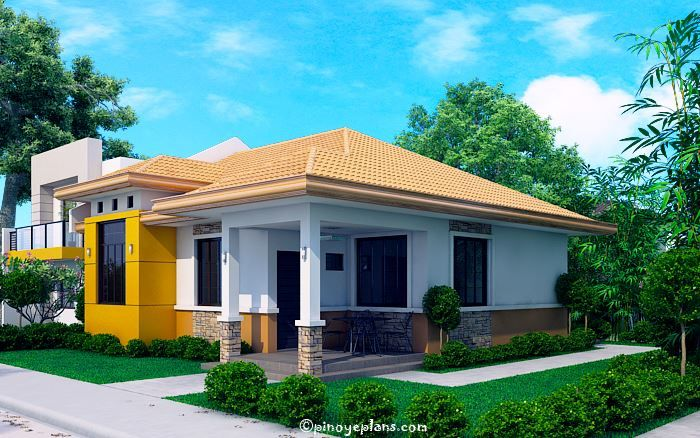 Modern Bungalow House With 3d Floor Plans And Firewall Pinoy House Designs Pinoy House Designs Modern Bungalow House Bungalow House Design Modern Bungalow
