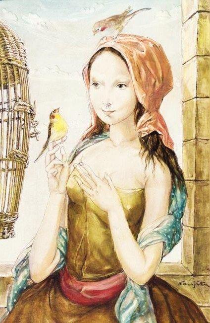 """""""Jeune fille à la cage aux oiseaux"""" (1956)byLéonard Tsugouharu Foujita~藤田 嗣治"""