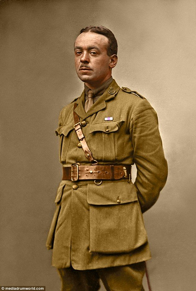 Doing his duty: A soldier of the Durham Light Infantry  sporting the ribbon of the Military Cross