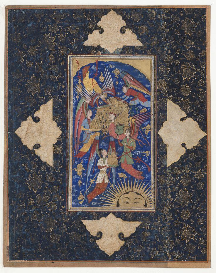 Le Mir'âj معراج نگاره , برگی از یک مرقع نفیس، ربع چهارم سده ۱۶ ترسایی، قزوین، برگ ۲۷.۸ در ۱۸.۳ سانتیمتر، آبرنگ و گواش بر روی کاغذ، موزه هنر و تاریخ، ژنو Style Qazwin, Style Le Mir'âj ou la Montée Céleste du Prophète, 4e quart 16e s. Feuille: 185 x 100 mm (miniature); feuille: 328 x 260 mm (montage) Gouache et or sur papier, monté sur une page d'album enluminée à la gouache et à l'or. Mention obligatoire : Cabinet d'arts graphiques des Musées d'art et ...