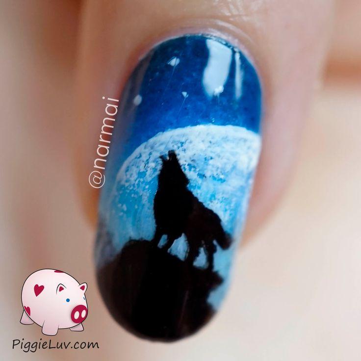 PiggieLuv: Galaxy wolf twin nails (glow in the dark)