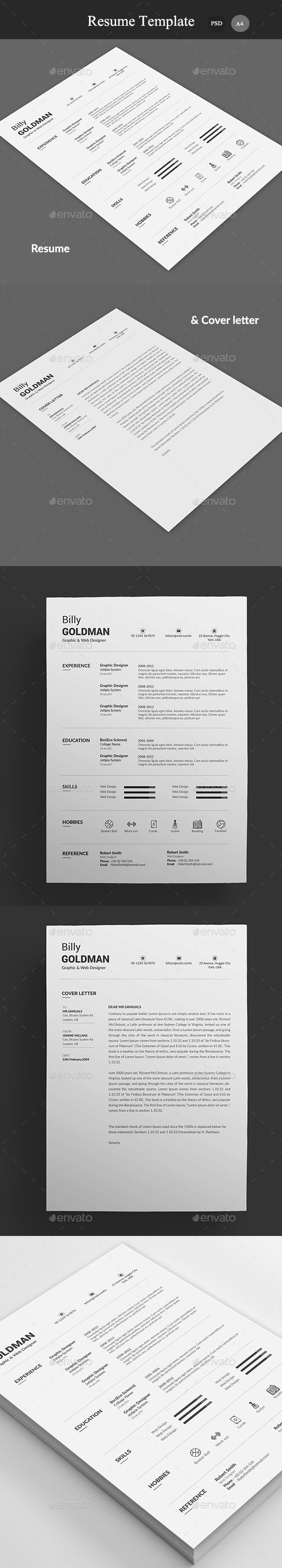 cv and covering letter%0A Resume  u     Cover Letter Template PSD