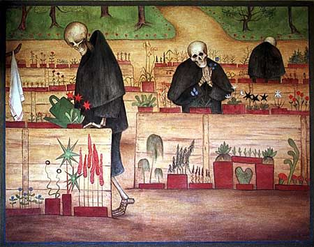 Hugo Simberg's The Garden of Death (1896). This one's a fresco in the Tampere Cathedral. I saw it the first time when I was very young. Maybe that's the reason why I'm into skulls?