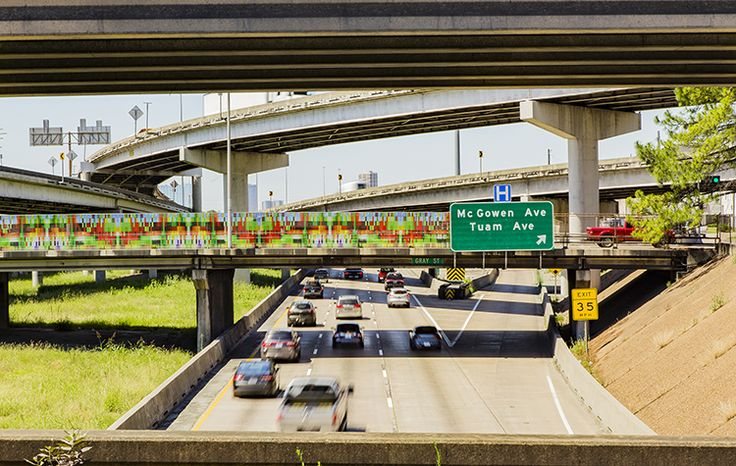 RAINBOW DRIVE-BY BY ZACH MORTICE, LANDSCAPE ARCHITECTURE MAGAZINE. The linear art installation SWA designed for Houston's Highway 59/Interstate 69 bridges came with two important traffic safety stipulations: no words, and no faces.