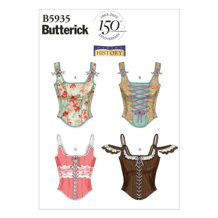 Butterick 5935 Sewing Pattern - Historical Style Lace Up Boned Corset 4 Styles