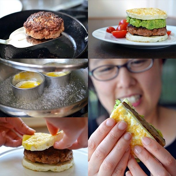 """Breakfast for dinner: #Paleo Sausage Egg """"McMuffins"""" with homemade guacamole. Recipe on the blog tomorrow (6/16/13)!"""