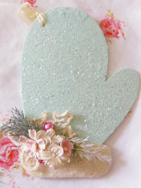 Sweet Vintage Christmas Mitten Ornament or Card