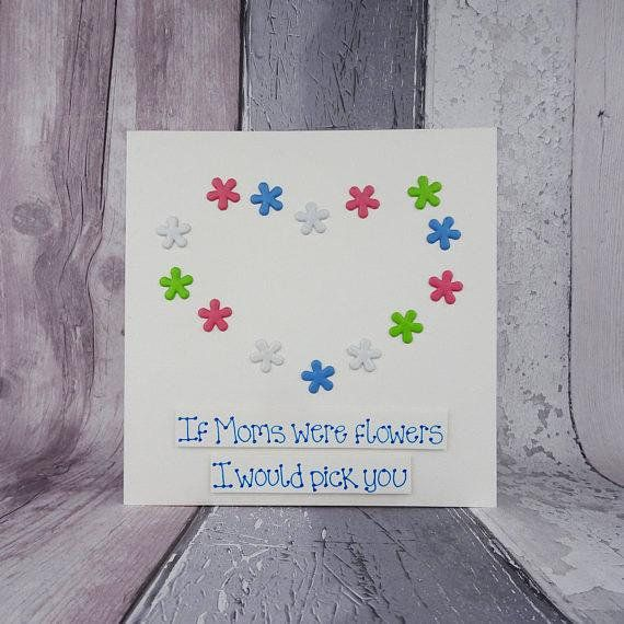 Floral Mothers Day card, featuring a heart of metal flower brads (split-pins). This Mothers Day card and flowers has the message: If Mothers were flowers I would pick you.  This Handmade Happy Mothers Day card has pastel flowers in the shape of a heart. The sentiment on this card for