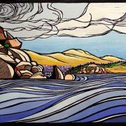 Past Wright to Granite island - Victor Harbor by Gail Kellett, 75cm w x 40cm h
