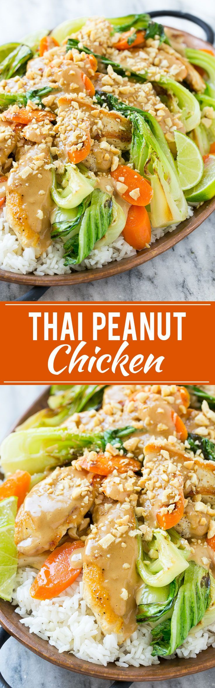 This recipe for Thai peanut chicken is a quick and easy stir fry with seared chicken and colorful vegetables, all covered in a homemade peanut sauce. Serve it with a side of rice for a complete meal that's ready in less than 30 minutes!