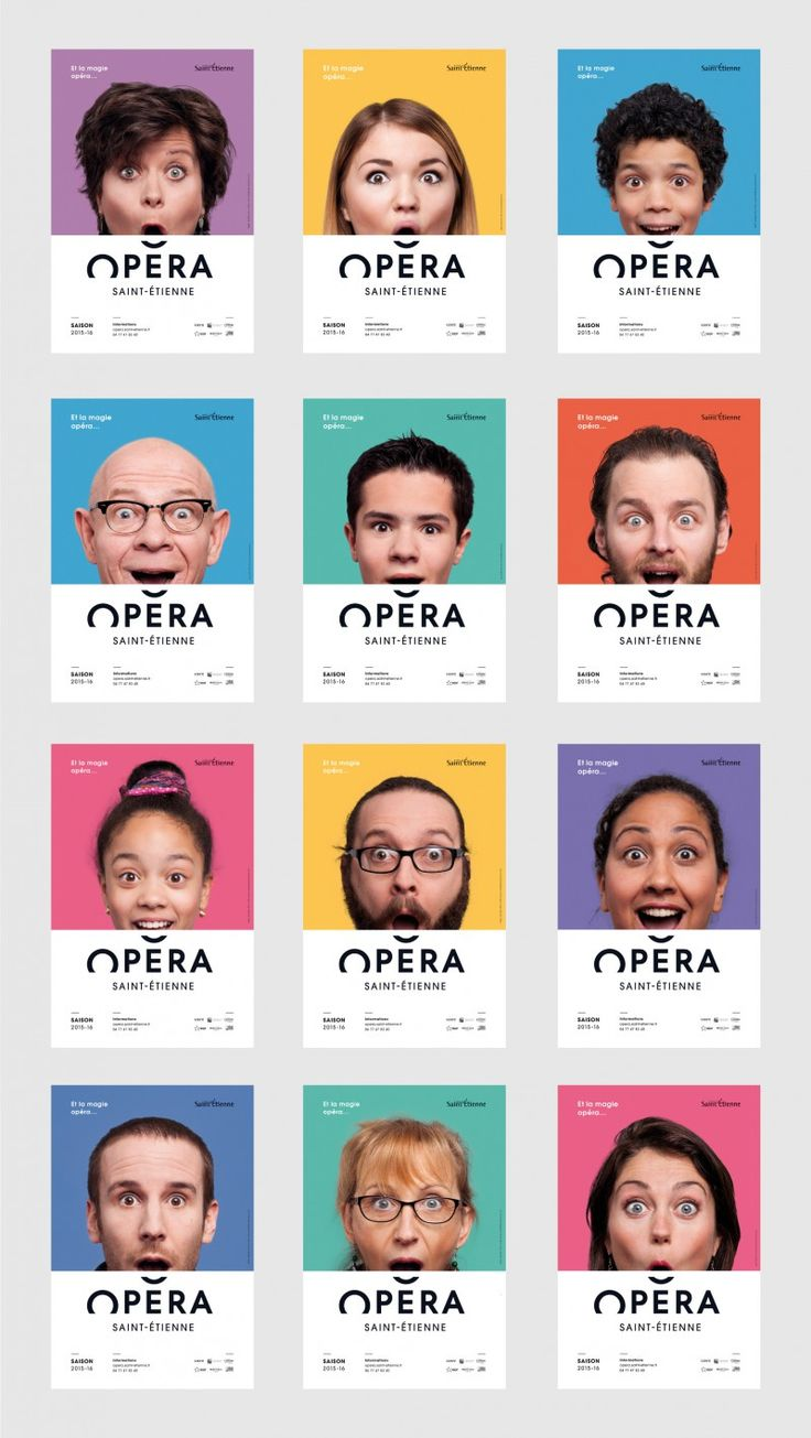 Opera Saint-Etienne - logo and 16 posters using the roof as a complementing of each mouth.