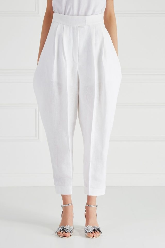 Льняные брюки Delpozo - Джозеф Фонт, дизайнер бренда Delpozo, включил в новую коллекцию эти широкие брюки на высокой посадке в интернет-магазине модной дизайнерской и брендовой одежды