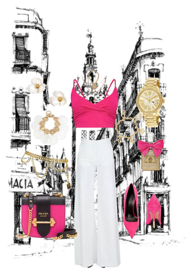 """fuchsia colored top 💕"" by nony4-5n on Polyvore featuring Balmain, Federica Tosi, Chanel, Michael Kors, Juicy Couture, Robert Lee Morris, Luv Aj and Prada"