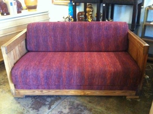 1970s Wood Furniture ~ S love seat sofa bed futon hide a way inlayed