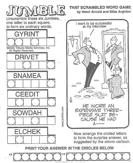 Word jumbles in the newspaper. Brain teaser + corny puns = Happy Barrie!