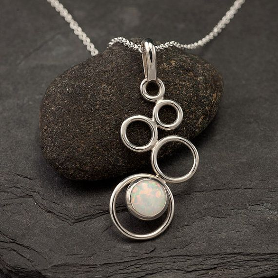 Opal Necklace- Opal Pendant- Sterling Silver Necklace with Opal- Opal Jewelry- S...