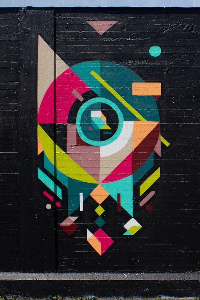 Geometric street art by Neli0 #streetart #illustration #color