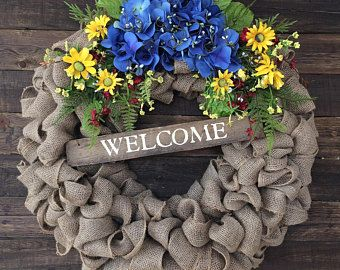 Unique handmade burlap wreaths made in by BurlapButtonsAndLace