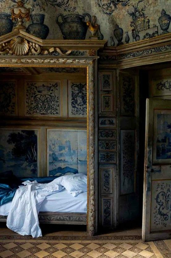 Opulent French-style bed chamber.