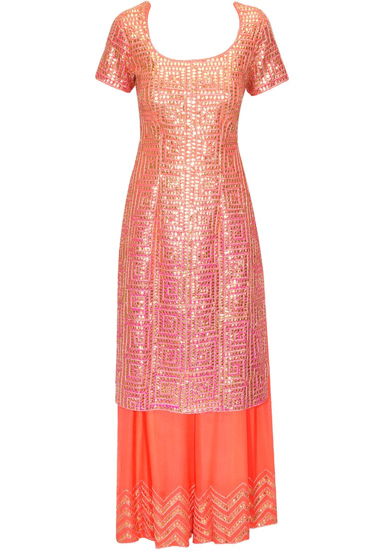 Orange and pink shaded gota patti embroidered long kurti with palazzo pants available only at Pernia's Pop Up Shop.
